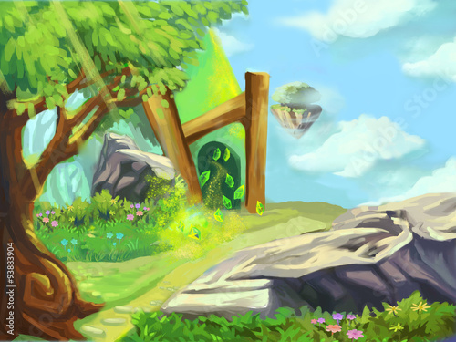 illustration a emerald mine in the magical forest fantastic