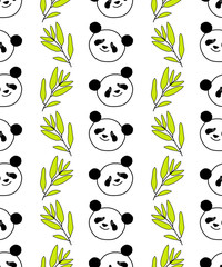 Seamless decorative vector background with pandas