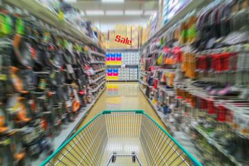 Running shopping cart, Sale concept