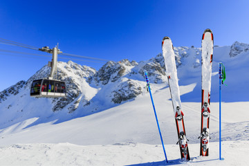 Winter season, ski equipments on ski run