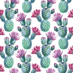 Spoed Fotobehang Aquarel Natuur Watercolor seamless cactus pattern