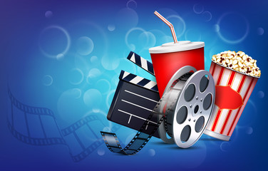 Cinema background with popcorn box, film strip and paper cup with drink.