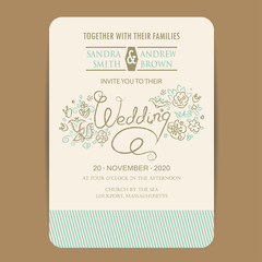 Beautiful wedding invitation card with hand drawn flowers.