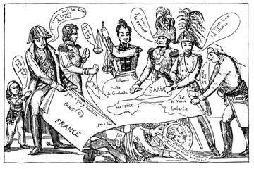 Caricature of the congress of Vienna (1815), in which major European powers decided how to reshape post-Napoleonic Europe in terms of borders and boundaries.