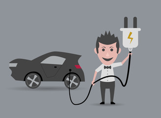 man holding electric car plug
