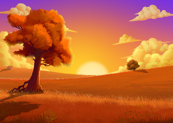 In de dag Baksteen Illustration: The Autumn. Fantastic Cartoon Style Scene Wallpaper Background Design with Story.
