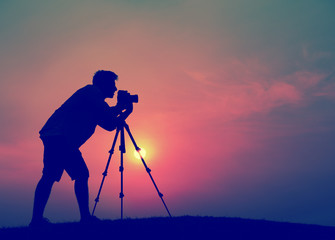 Man Photographer Taking Pictures Silhouette Concept