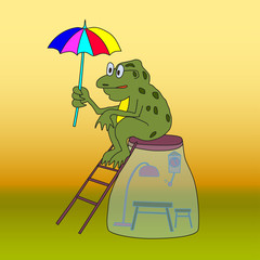 Frog with umbrella sitting on glass