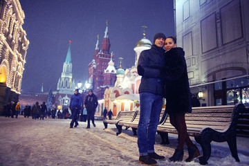 lovers in winter Moscow