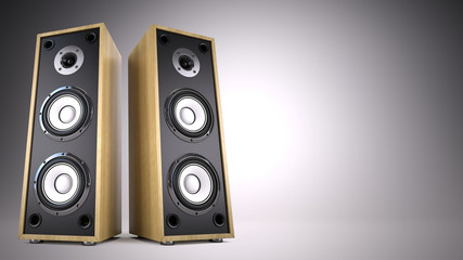 Two Big Audio Speakers boxes with empty space –  advertisement, music, concert, audio concept