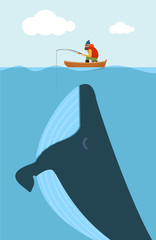 Vector illustration of fisherman and huge whale.