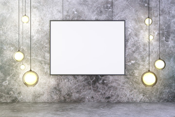 Blank picture frame with lightbulbs and concrete wall and floor,