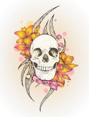 Printed kitchen splashbacks Watercolor Skull Skull and Flowers