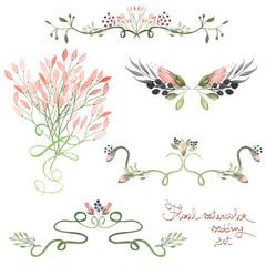 Set with frame borders, floral decorative ornaments with watercolor flowers, leaves and branches painted in watercolor on a white background for greeting card, decoration postcard, wedding invitation
