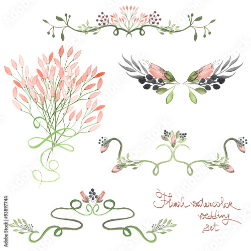 set with frame borders floral decorative ornaments with watercolor