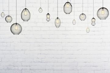 Light bulbs in an empty loft interior