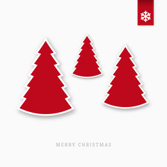 Red paper christmas trees
