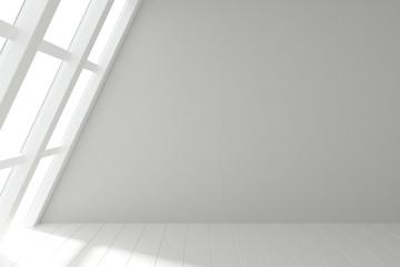 Fototapete - Modern light room with windows in floor and wooden white floor