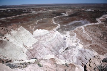 Painted desert in Petrified Forest National Park in Arizona, Route 66 USA