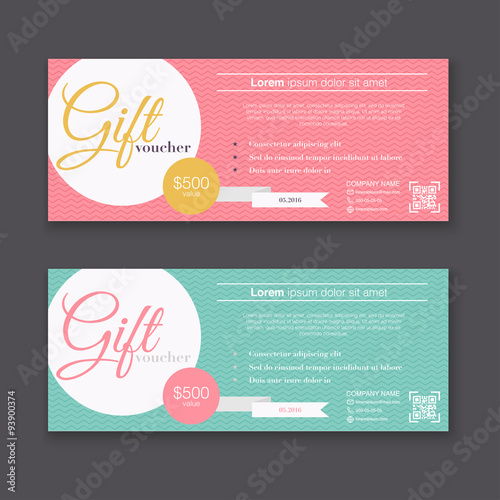Gift voucher template with colorful pattern, Gift certificate. B ...