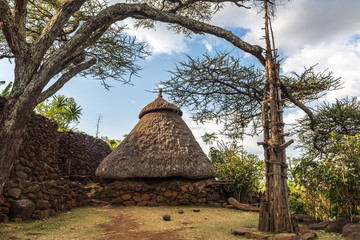 Traditional house in a Konso village with generations tree