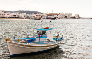 fishing boat off mykonos harbor