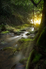 An Image of Waterfall in the morning with sun rays