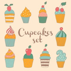 Set of cute vector cupcakes and muffins.
