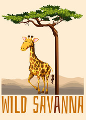 Wild savanna theme with giraffe