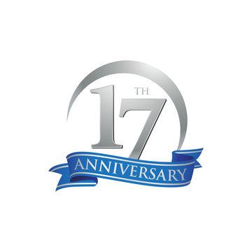17th anniversary ring logo blue ribbon