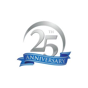 25th anniversary ring logo blue ribbon