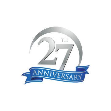 27th anniversary ring logo blue ribbon