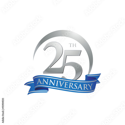 25th Anniversary Ring Logo Blue Ribbon Stock Image And Royalty Free Vector Files On Fotolia