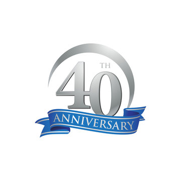 40th anniversary ring logo blue ribbon