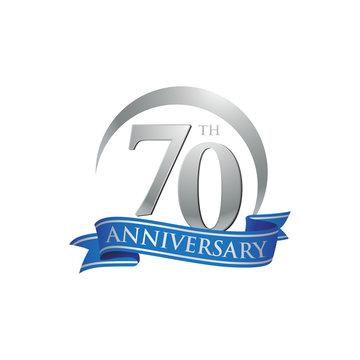 70th anniversary ring logo blue ribbon