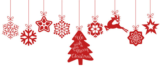 Merry Christmas. Christmas elements hanging line red isolated background.