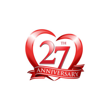 27th anniversary logo red heart ribbon