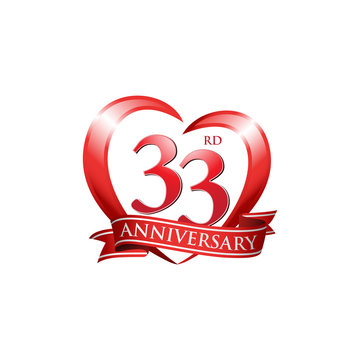 33rd anniversary logo red heart ribbon
