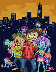 Zombies walking in the city