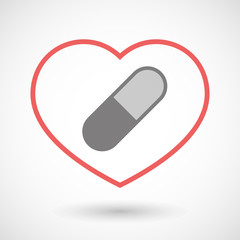 Line heart icon with a pill