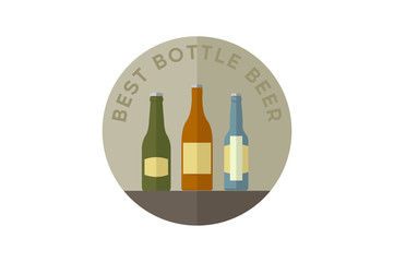 Beer bottles set with label isolated on white background.