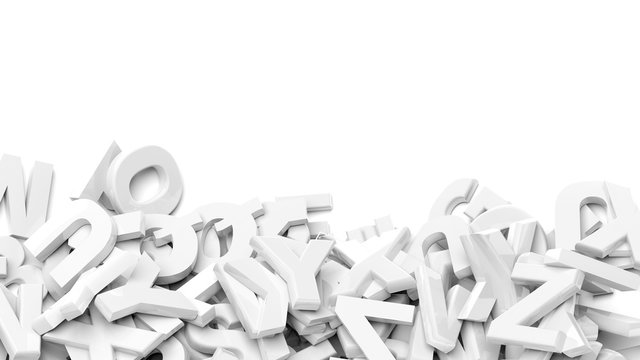 Capital alphabet characters fell down in a pile with copy-space, isolated on white background.