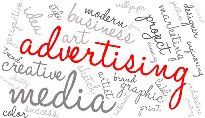 Creative advertising word cloud on a white background.