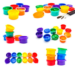 Collection of photos children finger paint