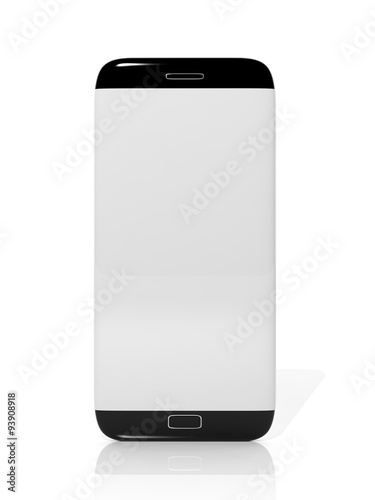 Smartphone Blank Screen Template Isolated On White Background