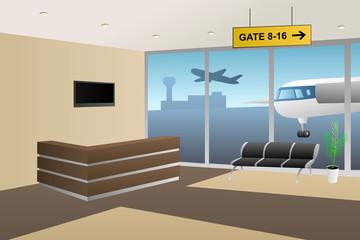 Interior airport inside reception beige brown illustration vector