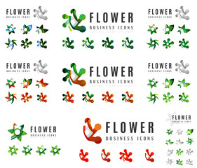 Set of company logotype branding designs, flower blooming