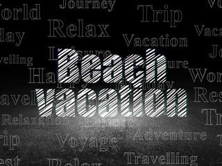 Vacation concept: Beach Vacation in grunge dark room