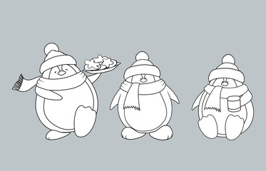 Set of 3 sweet and funny looking Christmas penguins.Isolated coloring book vector illustration