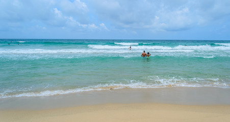 Summer seascape with blue sky background at Surin beach Phuket in Thailand